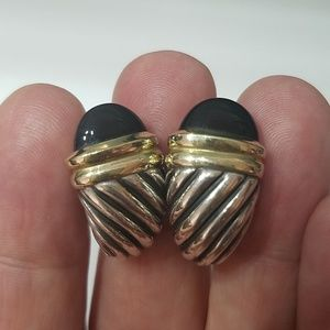 Davis Yurman Cable Onyx Shrimp Earrings